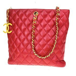 Authentic CHANEL CC Quilted Chain Shoulder Bag